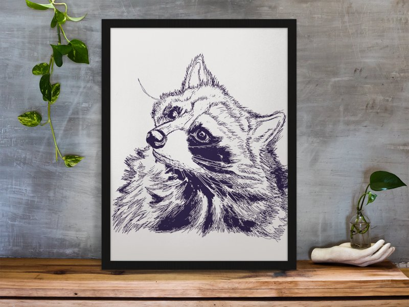 Raccoon Art Print Pen and Ink