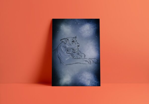 lioness and cub art print