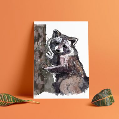Climbing Raccoon Art Print
