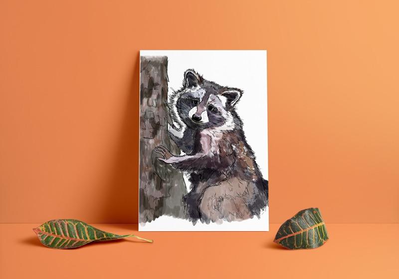 Climbing Raccoon Art Print