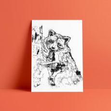 climbing racoon art print