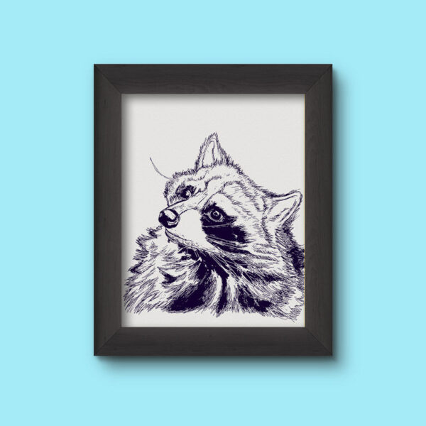 Raccoon Art Print Pen & Ink