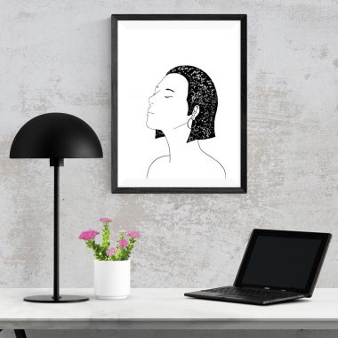 Black And White Star Girl Art Print