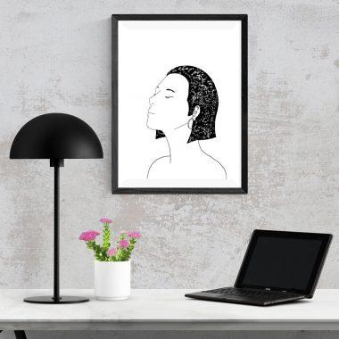 Black And White Star Girl Art Print