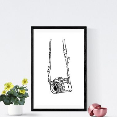 Camera Black And White Art Print
