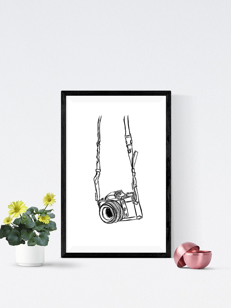 Camera Black And White Art Print