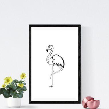 Flamingo Black And White Art Print
