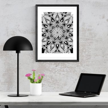 Mandala Black and White Art Print