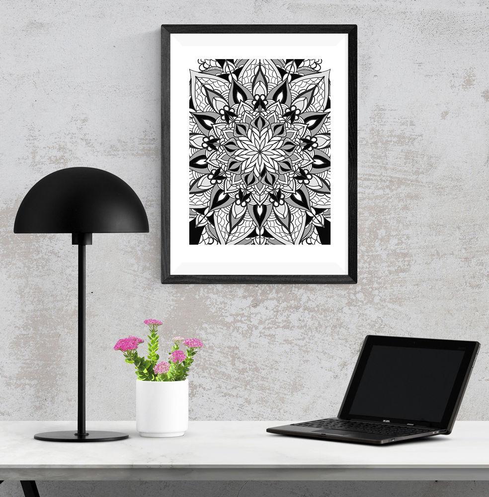 Mandala Black and White Art Print