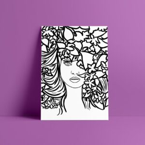 face black and white art print
