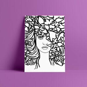 face black and white art print