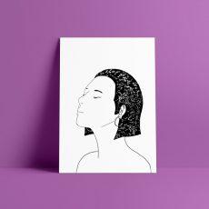 black and white star girl print
