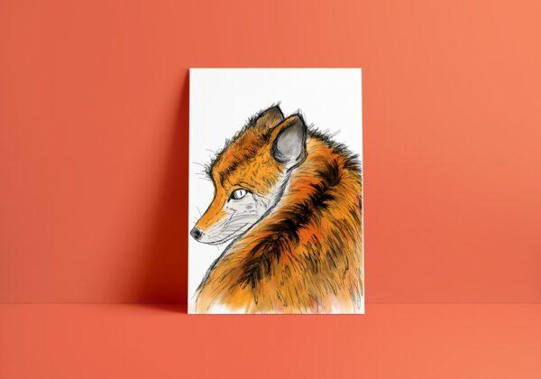 fox art print colour